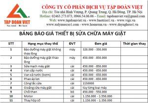 Bảng báo giá dịch vụ vệ sinh máy giặt